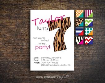 7th Birthday Invitation | Kids Birthday | Printable Digital File