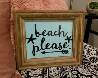Beach please teal handpainted art in frame only 1 available last one! Thick frame