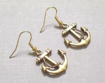 Antiqued Gold Anchor Earrings, Nautical Jewelry, Pierced Earrings