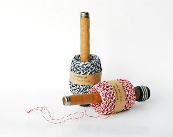 SALE: Twisted Black-White Paper Twine on an Old Wooden Spindle - DIY, Craft, Giftwrap