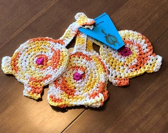 crochet cat butt coasters , set of 4  , cat lovers gift
