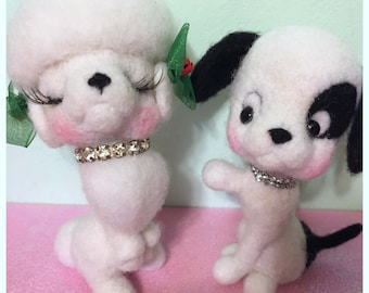 Felted Dogs Pair Dog Couple Boy and Girl Dogs Poodles Puppies Figurines Soft Sculpture Poodles Disney Like Animals