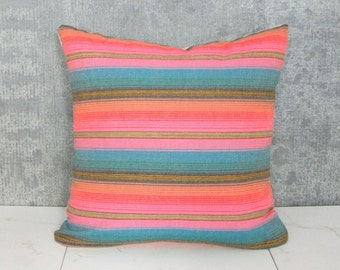 Argentina Pillow Cover / Light Pink Blue Teal Peach Orange Pastel Striped Ethnic Textile Colorful Central America Decorative Throw Cushion