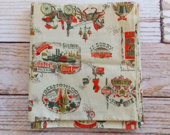 Vintage Horse Derby Carriage Fabric  / One+ Yard / Vintage Fabric