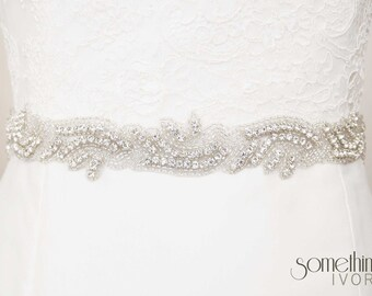 CELESTE - Beaded Rhinestone Bridal Wedding Sash