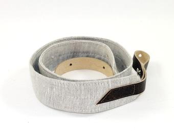 Natural Linen Mandolin / Ukulele Strap with Leather ends