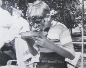 The Winner - 1940'sPie Eating Contest - Little Boy Has A Face-Full Snapshot Photo - Free Shipping
