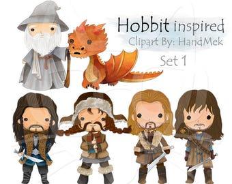 Hobbit inspired clipart set 1 Instant Download PNG file - 300 dpi