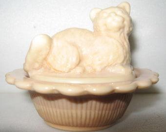 Chocolate Milk Glass Salt Cellar Cat Kitten On Basket Dish Mosser