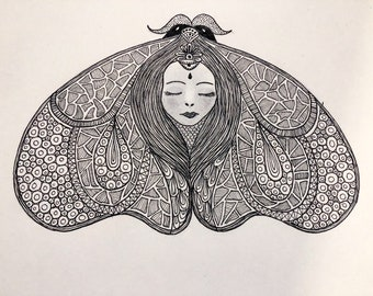 Lady Moth Ink Drawing Wall Art Print of Original Ink Drawing - Limited Edition Signed Illustration
