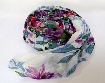 White Floral Chiffon Scarf - Large Chiffon Shawl - Polyester Chiffon Scarf - Bold Floral Printed Scarf - Women's Scarf Shawl Headpiece