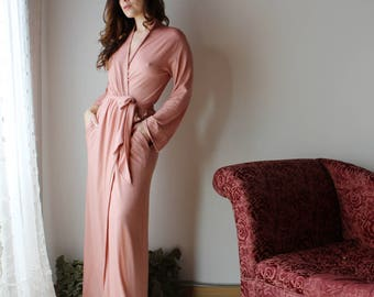 merino wool robe with pockets for women in full length - made to order - MERINO II