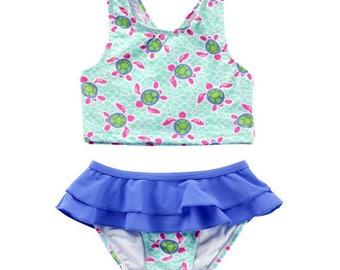 Monogram Turtle Swim Suit   Monogram Kids Swimsuit   Kids Bathing Suit   Children's Turtle Swimsuit   Girl's Bathing Suit