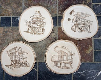 Miami Beach Lifeguard Station Wood Coasters,  woodburned / Set of 4