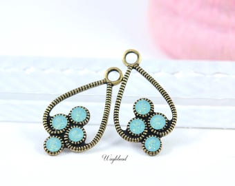 Pacific Green Opal Antique Brass Filigree Rhinestone Drops Earring Dangles 23x13mm Jewelry Findings Charms Swarovski - 2 .