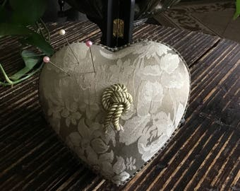 Vintage Shabby Chick Heart Shape Pin Cushion Sewing Box