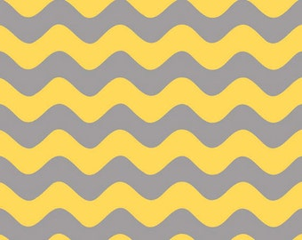 Half Yard Wave - Waves Tone on Tone in Gray / Yellow - Cotton Quilt Fabric - RBD Designers for Riley Blake Designs - C425-11 (W3294)