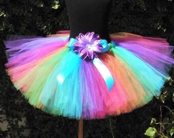 "Rainbow Splash - Custom Sewn 10"" Tutu - Includes a coordinating flower headband - size newborn to 5T"