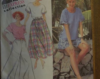 Simplicity 7870, sizes 10-16, pants, shorts, skirt, pullover, top, misses, womens, UNCUT sewing pattern