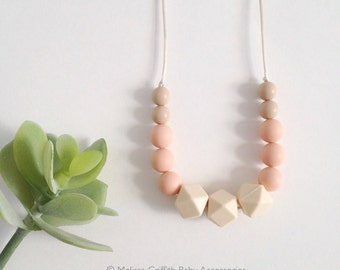 Chloe Silicone Nursing Necklace, Silicone Teething Necklace, Breastfeeding Necklace, Chewelry - Peach, Oatmeal, and Ivory