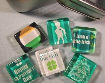 St. Patrick's Day, Saint Patrick's Day Decoration, Refrigerator Magnets, Fridge Magnets with Storage Tin