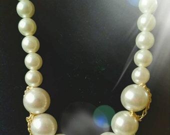 After Life Accessories Handmade: Faux Pearl & Gold Chain Accent Necklace