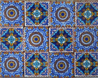 "12 Mexican Talavera Tiles handmade, Hand painted 2 ""X 2"""