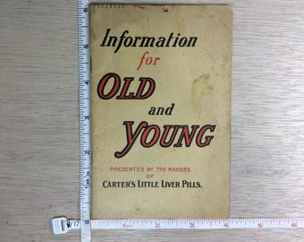 Vintage Old Carter's Little Liver Pills Book Information For Old And Young Used
