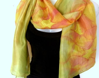 Silk Scarf Handpainted, Abstract, Olive Green Yellow Green Orange Terracotta, Gift Under 50
