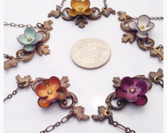 Artisan made succulent flower sedum and vine necklace on nickel/lead safe antique brass chain in your choice of colors.