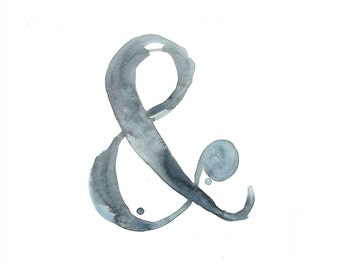 """Ampersand Print - Watercolor & - Archival Print from my Original Illustration - 8""""x10"""", 5""""x7"""", 9""""x12"""" or 11""""x14"""""""