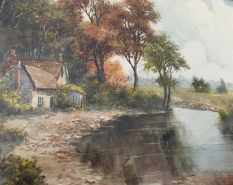 Lovely watercolour landscape painting of a meandering stream near an old home.  W. T. Wood (1877-1958)