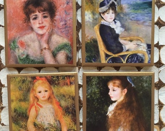 COASTERS!!! Set of Renoir print coasters with gold trim