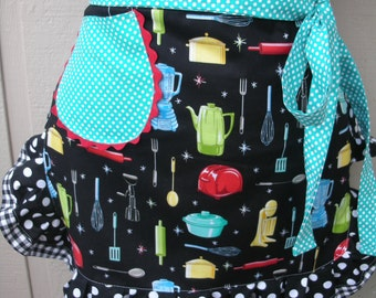 Aprons -  Diner Aprons - Monogramed Apron - Women Half Apron - Black Kitchen Appliance Apron Diner Apron with Pockets Handmade Aprons