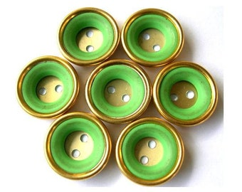 6 Vintage buttons gold color metal with green plastic circle, 18mm