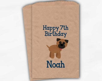 Puppy Birthday Party Candy Favor Bags - Blue Boys Custom Doggy Bags for Kids - 25 Brown Paper Bags (0189)