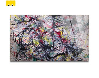 Plexiglass square Prints on acrylic glass-Jackson Pollock-NUMBER 34-Yellow BUS