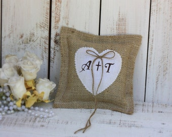 Rustic pillow customized with your initials