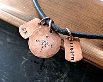 Mens COMPASS Necklace - Hand Stamped Compass Necklace - Mens Personalized Necklace