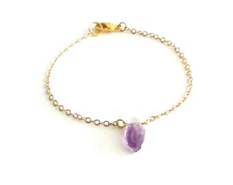 Raw Amethyst Bracelet, Raw Crystal Bracelet, Raw Stone Bracelet, Everyday Bracelet, Dainty Gold Bracelet, Simple Gold Bracelet