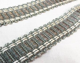 Gray Braid - Gray Flat Trim - Designer Gray Gimp - Pillow Braid - Sewing Trim - Wide Decorative Flat Braid - 1 yard