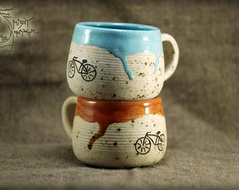 Bicycle set of two cups 10 Oz Pottery teacup Bike ceramic mug Bicycle decor White handmade clay tea cup House warming personalized gift