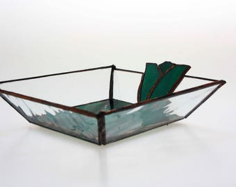 Forest green stained glass tulip dish