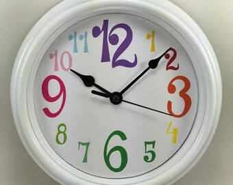RAINBOW Numbers NURSERY Childrens Teenagers Wall Clock