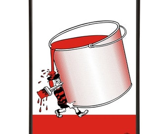 Minnie the Minx Painting Pop Art with the Beano character carrying, and spilling, a large with a pot of paint and a paintbrush