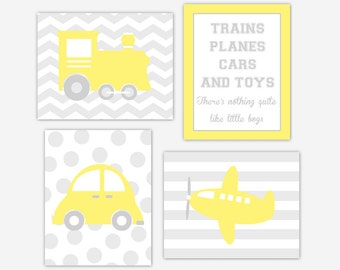 Baby Boy Nursery Wall Art Yellow Gray Transportation Boys Room Decor Train Plane Car Boy Quote Boy Nursery Wall Decor Baby Nursery Decor Art