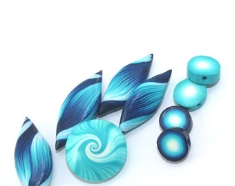 MEMORIAL DAY SALE Polymer Clay beads, swirl lentil bead and leaf shaped beads in blue, turquoise and white, unique pattern, elegant set of 9