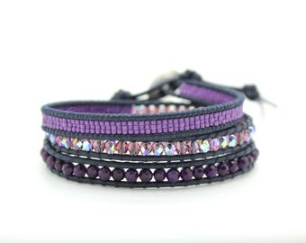 Purple Sectioned Wrap Bracelet on Pacific Leather