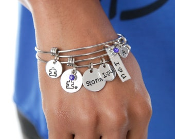 Autism Awareness Puzzle Piece Hand Stamped Jewelry I Love Someone with Autism Support Jewelry Light It Up Blue Expressions Bracelets
