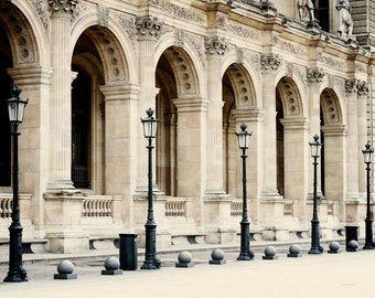 Paris Photography - Louvre Print Parisian Architecture Photo Travel Photograph Neutral Wall Art French Home Decor France Black Cream